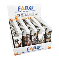 Zapalovač Faro Piezo Dog-Plynový zapalovač. Zapalovač je plnitelný. Prodej pouze po celém balení (displej) 50 ks. Výška zapalovače 8cm.