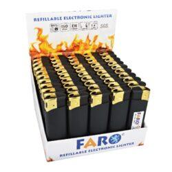 Zapalovač Faro Piezo Black & Gold-Plynový zapalovač. Zapalovač je plnitelný a má matný povrch. Prodej pouze po celém balení (displej) 50 ks. Výška zapalovače 8cm.