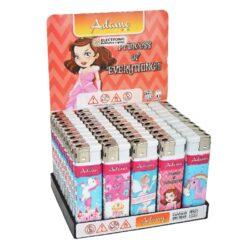 Zapalovač Adamo Princess-Plynový zapalovač. Zapalovač je plnitelný. Výška zapalovače 8cm. Prodej pouze po celém balení (displej) 50 ks.