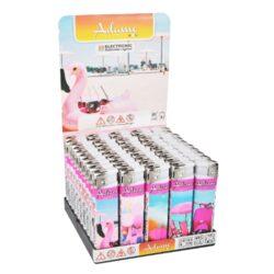 Zapalovač Adamo Summer-Plynový zapalovač. Zapalovač je plnitelný. Výška zapalovače 8cm. Prodej pouze po celém balení (displej) 50 ks.